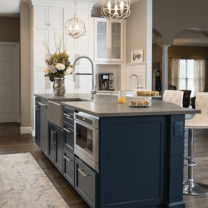 Grey wooden kitchen bar