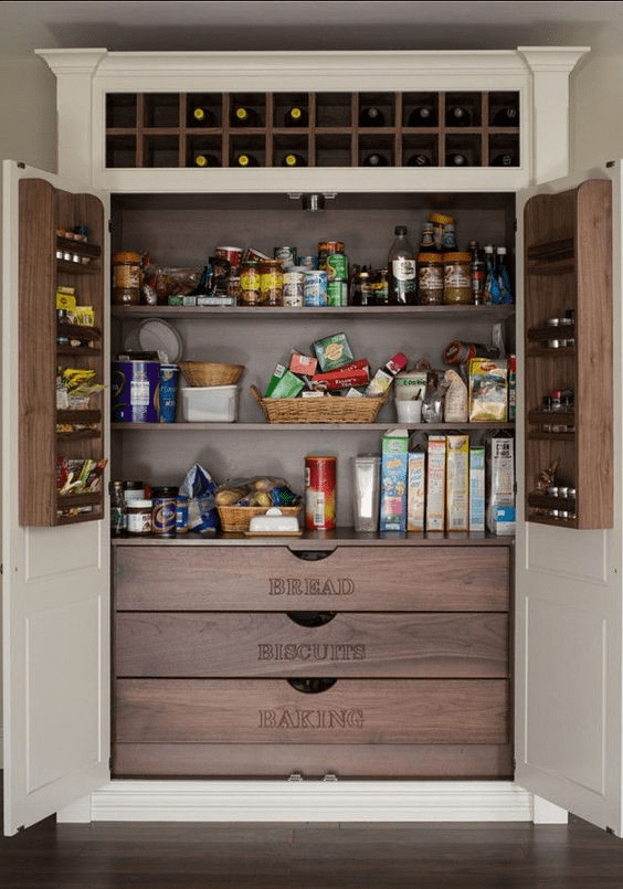 organized pantry with drawers